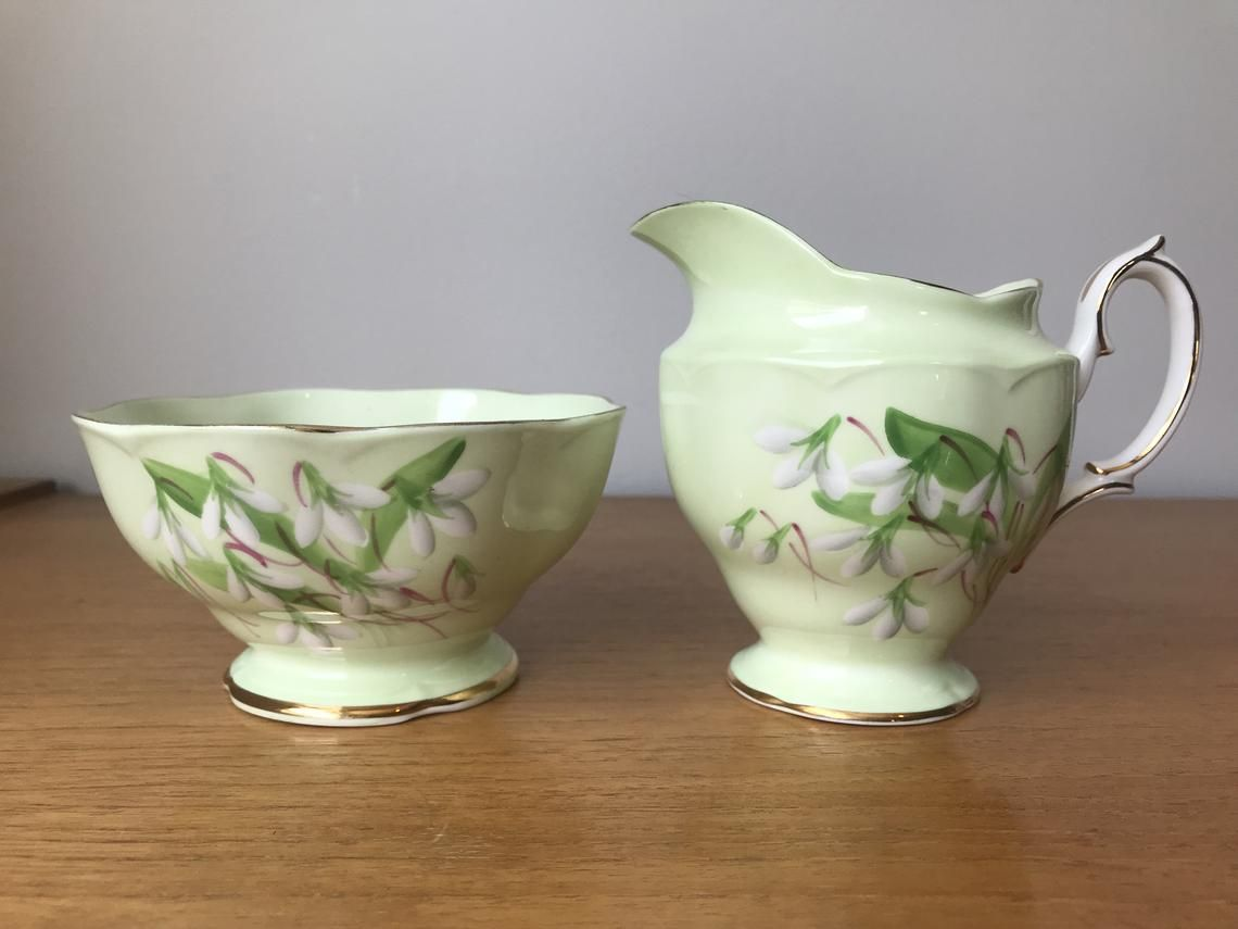 1950s Royal Albert Laurentian Snowdrop Cream and Sugar set, Large Vintage Creamer and Sugar Bowl set, Pastel Mint Green Bone China