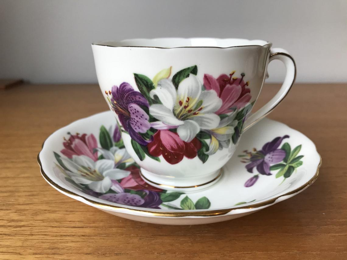 Adderley Tea Cup and Saucer, Purple Pink White Lily Teacup and Saucer
