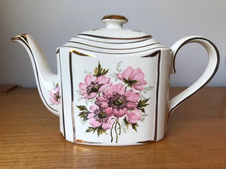 Arthur Wood Vintage Rectangle Teapot, Pink Brown Poppy Tea Pot, English Floral China, Poppies, Tea Party, 5464