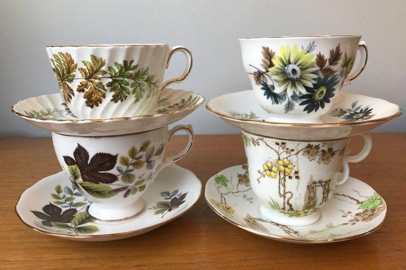 Autumn Colours Mismatched Vintage Teacups and Saucers, Floral English Tea Cups and Saucers, Tea For 4, Fall Tea Party, Bone China Tea Set