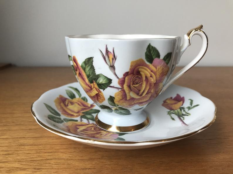 Autumn Rose Teacup and Saucer, Pale Blue Queen Anne Rose Tea Cup and Saucer, Fine Bone China