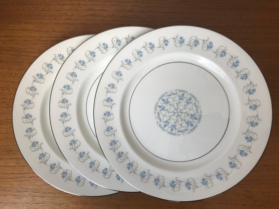 "Aynsley Plates, Bone China Dinner Plates, Pattern ""Dianne"" Blue Leaves with Silver trim, Dinnerware, Set of 3"