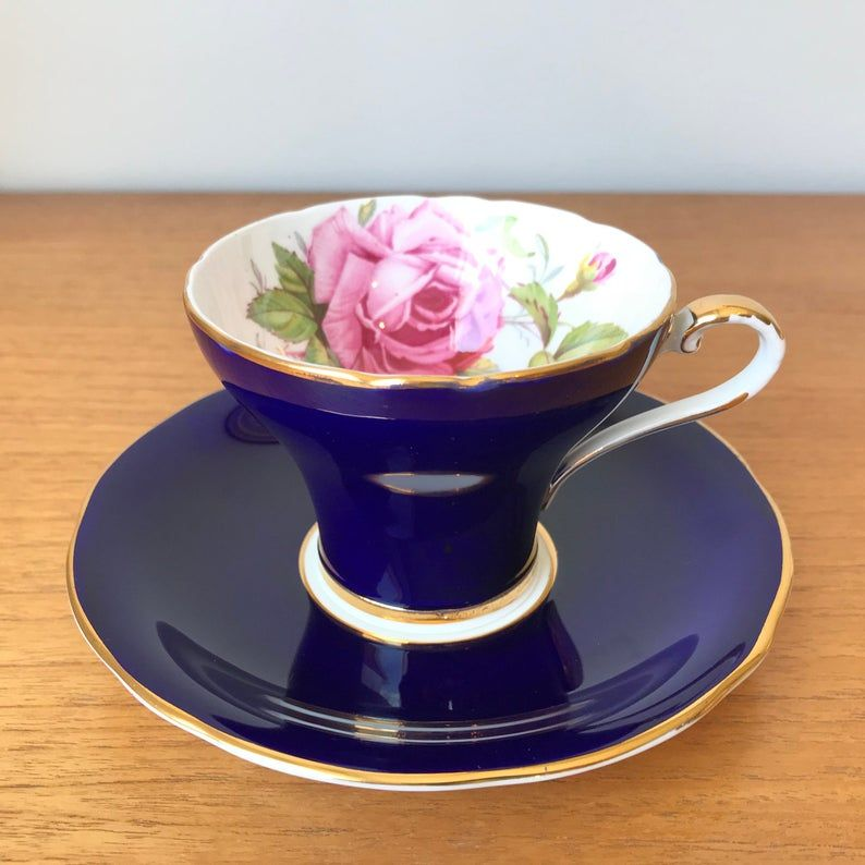Aynsley Dark Navy Blue Vintage Teacup and Saucer, Large Pink Rose Tea Cup and Saucer, Corset Shape, English Floral Bone China, Tea Set