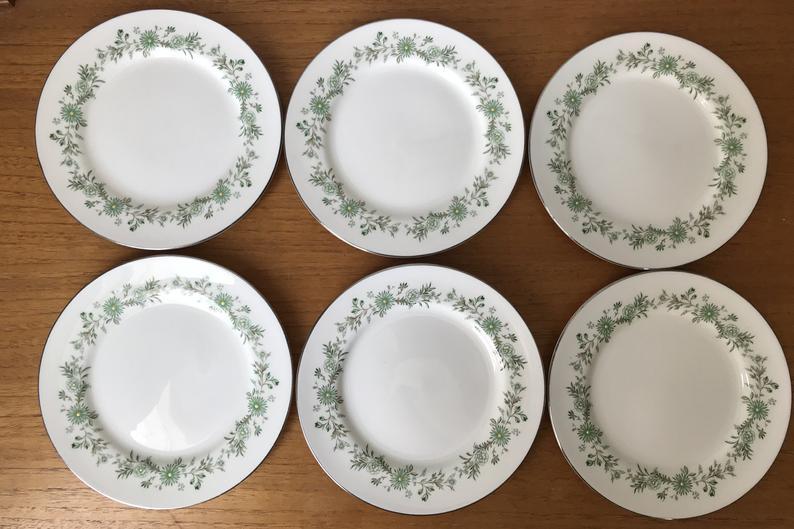 Aynsley Emerald Isle Vintage Plates, Set of 6 Green Flower Side Plates, Bone China Plates Dishes