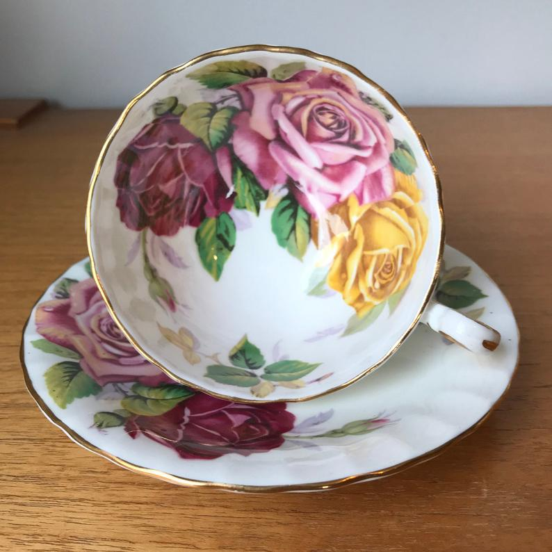 Aynsley Large Rose Tea Cup and Saucer, Pink Red and Yellow Rose Teacup and Saucer Oban Shape