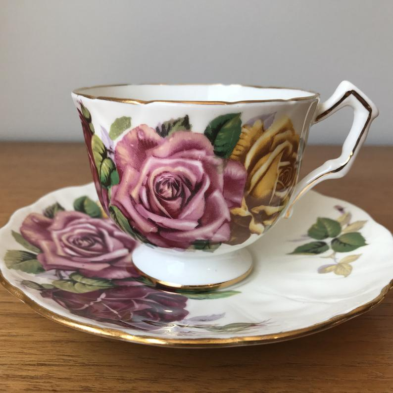 Aynsley Large Roses Teacup and Saucer, Pink Red and Yellow Roses Tea Cup and Saucer, Vintage Bone China
