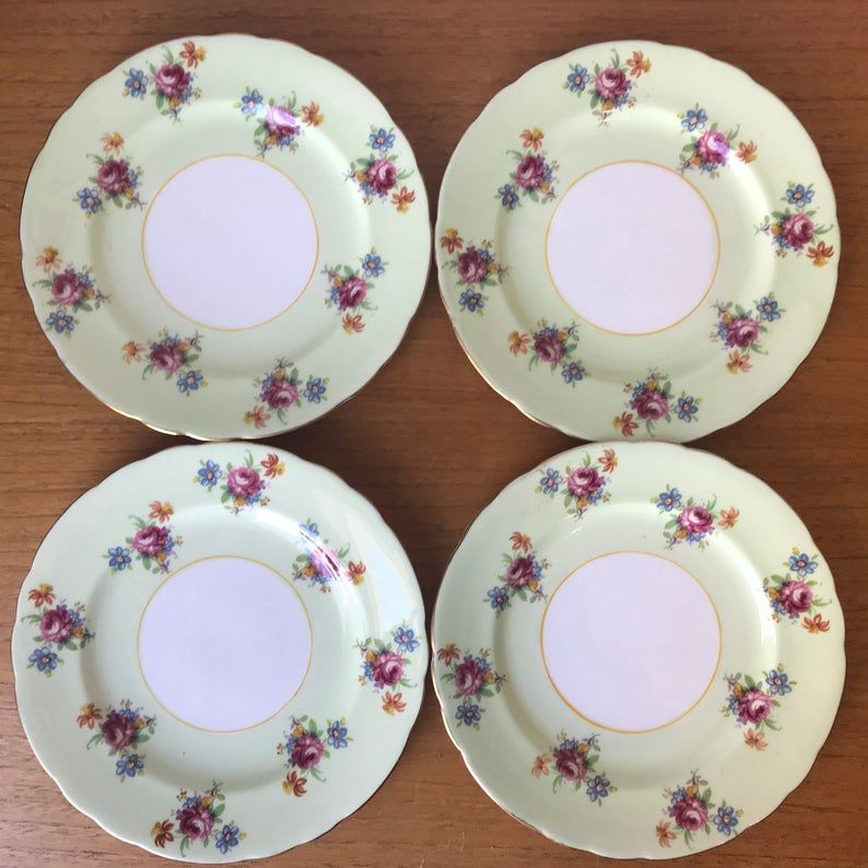 Aynsley Plates, Light Green Dessert Plates, Bone China Floral Plates, Tea Plates, English China Side Plates