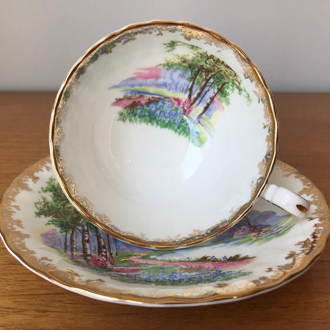 """Aynsley """"Bluebell Time"""" Tea Cup and Saucer, Vintage Bone China Teacup and Saucer, Scenic Trees Flowers Oban Shape"""
