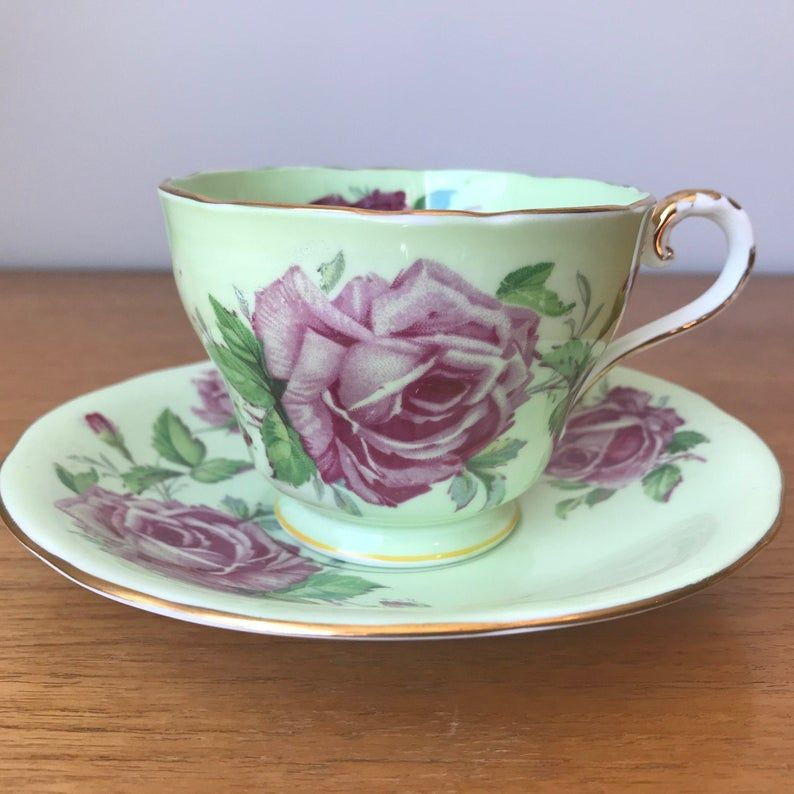 Aynsley Tea Cup and Saucer with Large Pink Cabbage Roses, Mint Green Teacup and Saucer, Fine Bone China