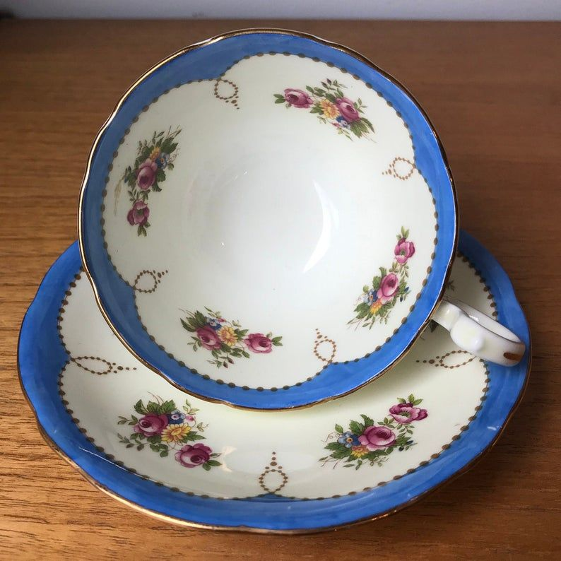 Aynsley Tea Cup and Saucer, Blue Border Teacup and Saucer, Floral Bone China