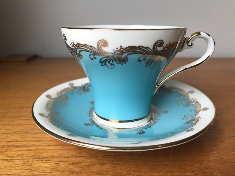 Aynsley Vintage Teacup and Saucer, Blue and White and Gold Tea Cup and Saucer, Corset Shape, English Bone China