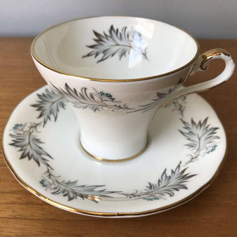 Aynsley Vintage Teacup and Saucer, Grey Feather Tea Cup and Saucer, Gold Trimmed Corset Shape Bone China