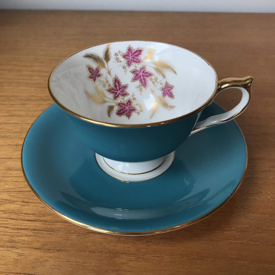 Aynsley Vintage Teacup and Saucer, Dark Turquoise Blue Tea Cup and Saucer w/ Purple Leaves Gold Leaf, English Bone China