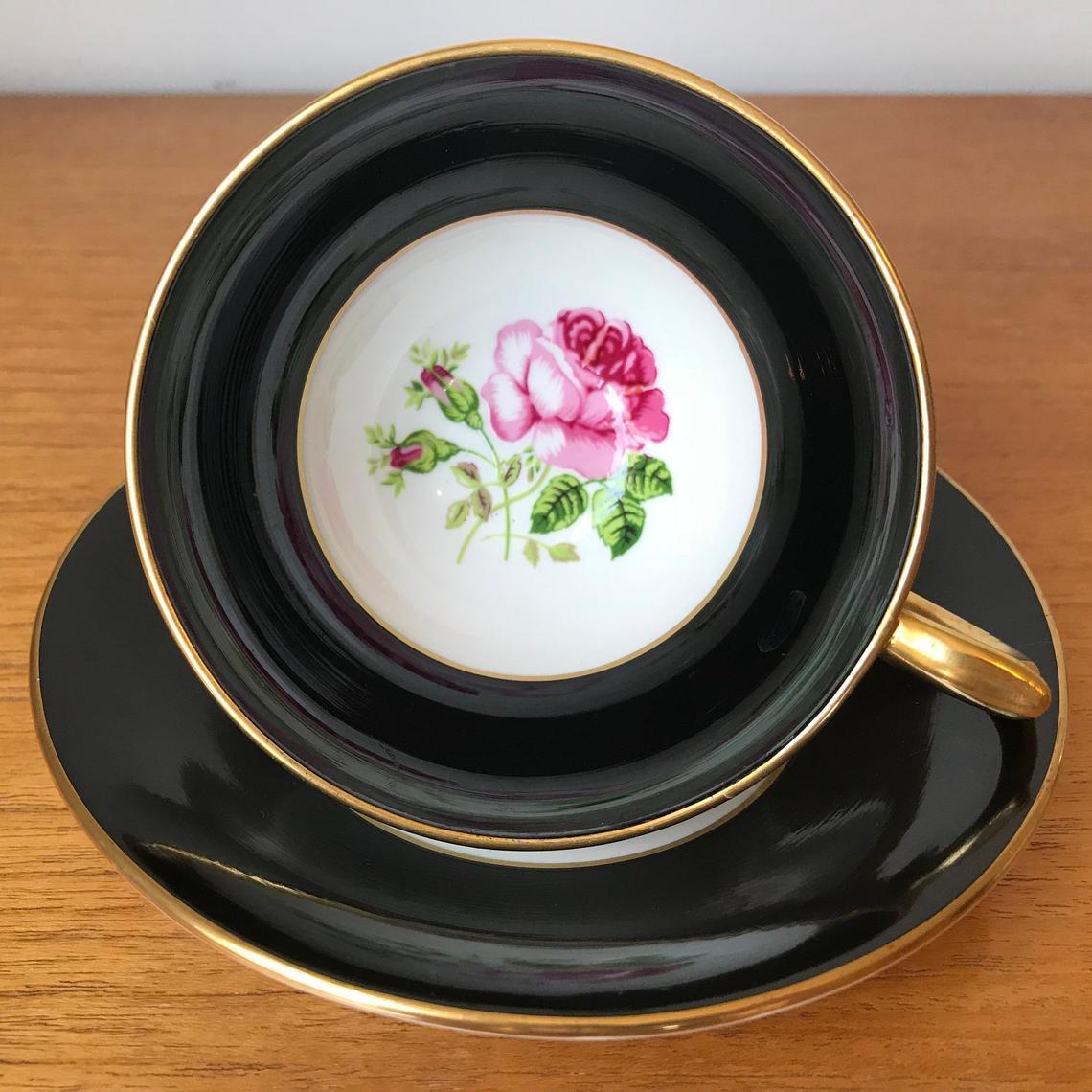 Black Teacup and Saucer with Pink Rose Centres, Windsor Bone China Tea Cup, and Saucer