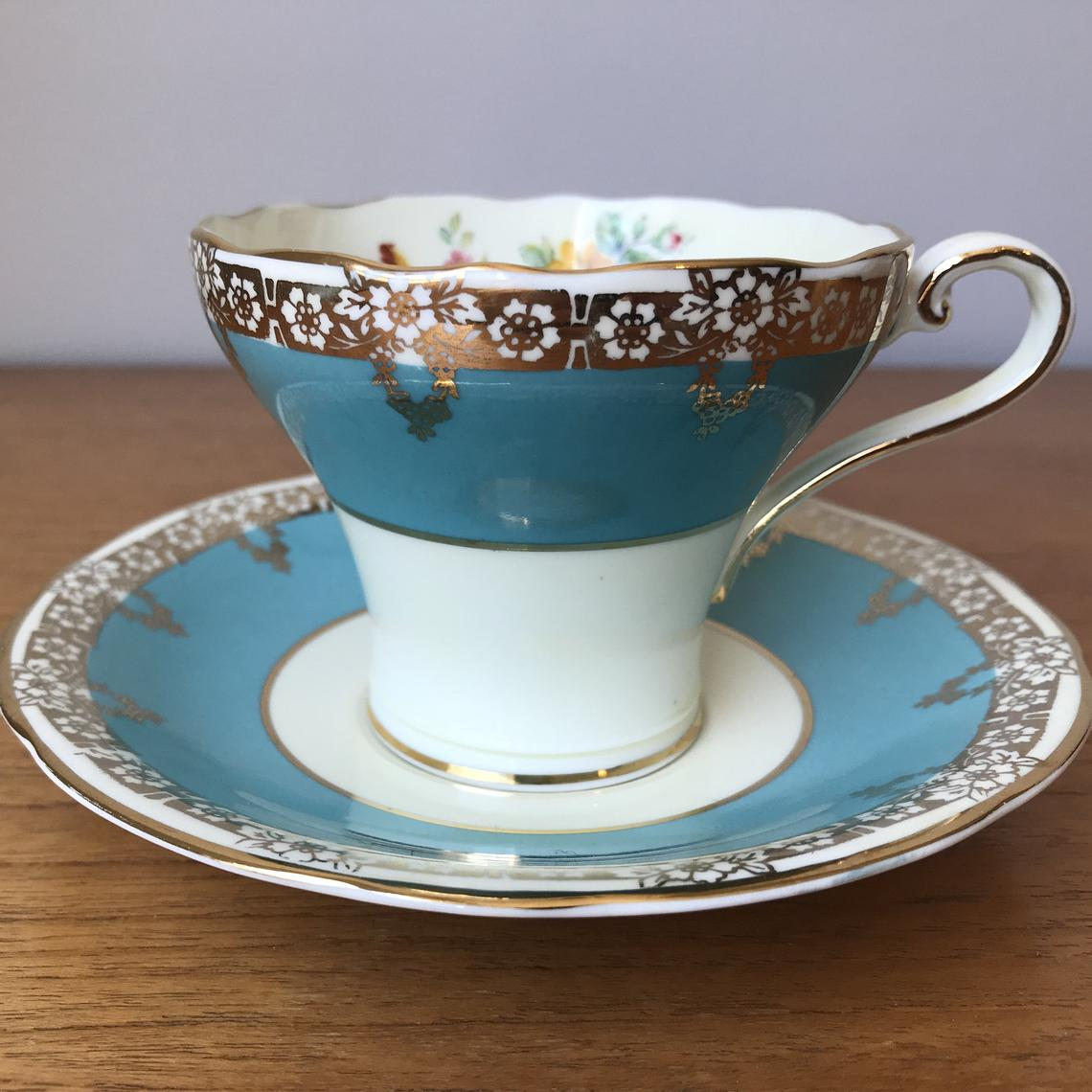 Blue Aynsley Tea Cup and Saucer, Vintage Bone China Floral English Teacup and Saucer, Corset Shape