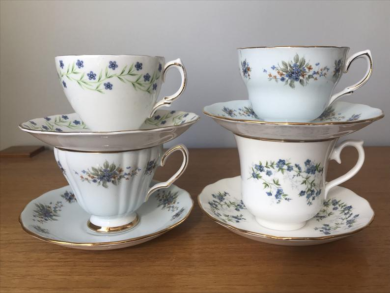 Blue Floral Teacups and Saucers, Forget-Me-Not Tea Cups and Saucers, China Tea Set