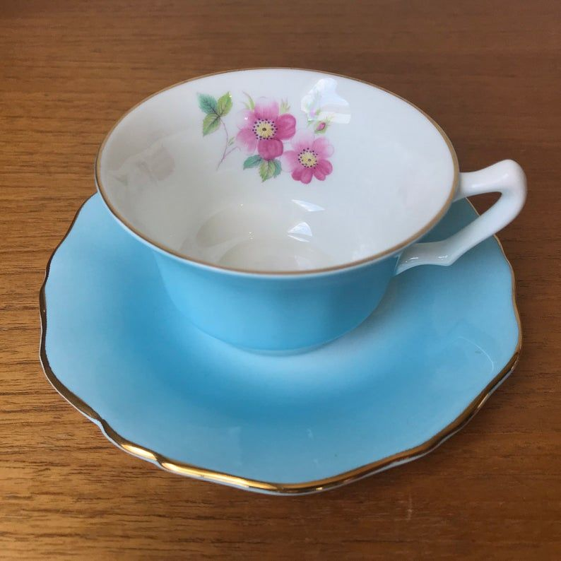 Blue Tea Cup and Saucer by Crown Staffordshire, Floral Bone China Teacup and Saucer