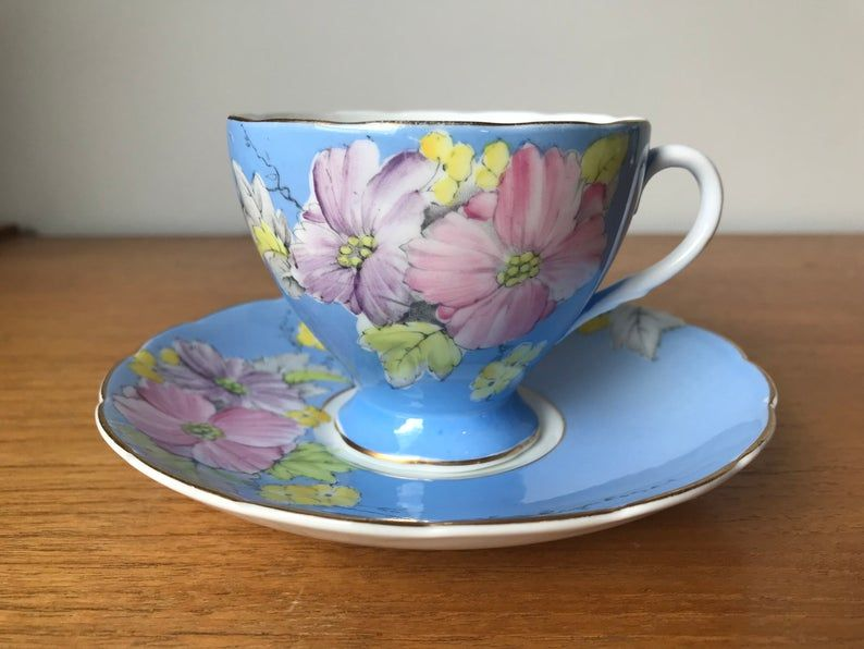 Blue Tea Cup and Saucer, EB Foley Teacup and Saucer, Hand Painted Pink Purple and Yellow Begonia Flower Bone China
