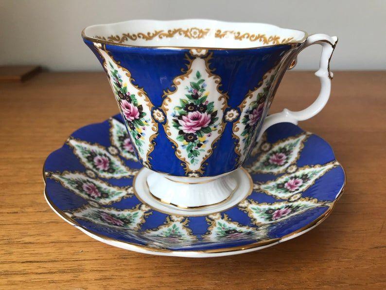 Blue Tea Cup and Saucer, Royal Albert Sandringham Royal Series Teacup and Saucer, Fine Bone China