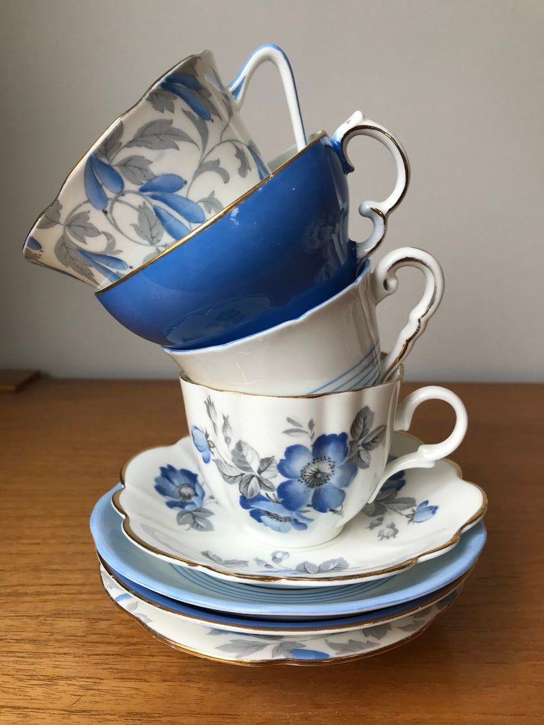 Blue and Grey Tea Cups and Saucers, Mismatched China Tea Set, Royal Grafton Adderley Royal Stafford Taylor and Kent Teacups and Saucers Lot