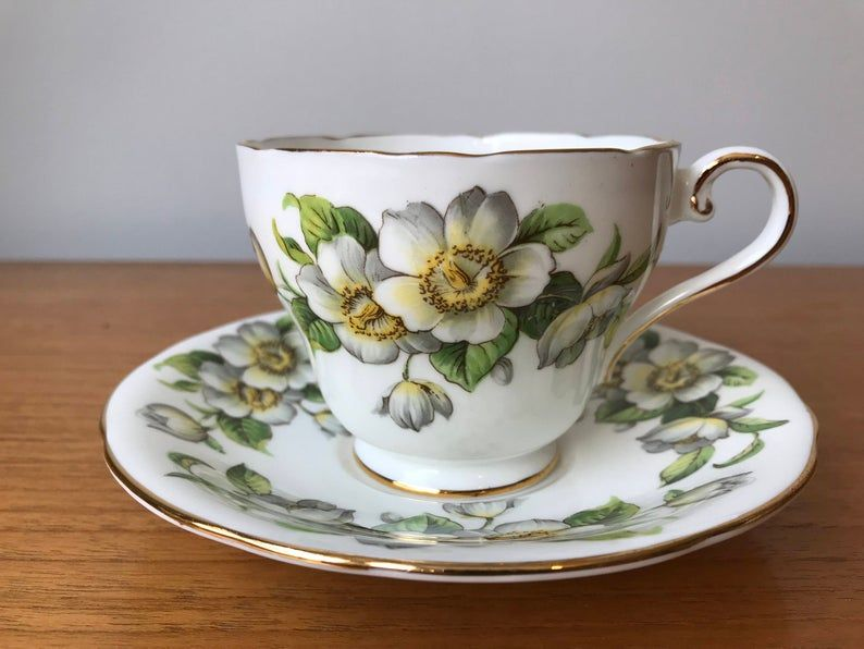 Bone China Aynsley Dogwood Teacup and Saucer, English Tea Cup and Saucer, White Flowers
