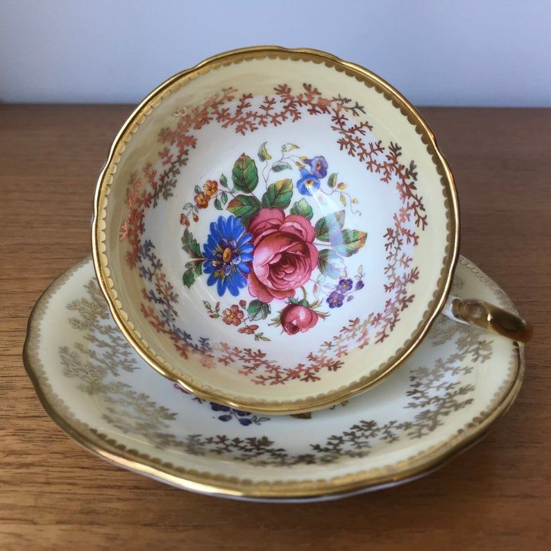 Bone China Aynsley Tea Cup and Saucer, Creamy Yellow and Gold Teacup and Saucer with Flower Bouquets