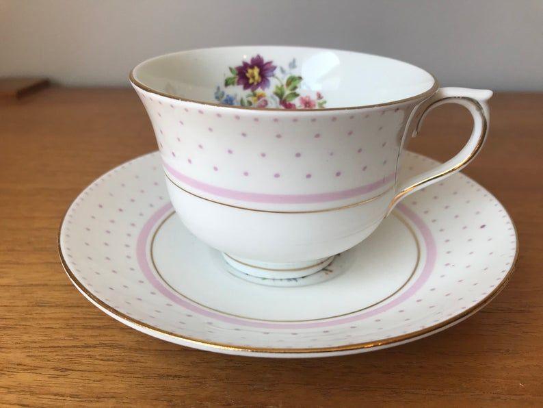 Bone China Colclough Tea Cup and Saucer, Pink Polka Dots Teacup and Saucer, Vintage