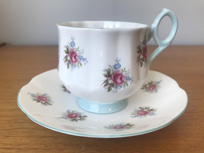 Bone China Rosina Tea Cup and Saucer, Pink Rose Blue Trim Teacup and Saucer