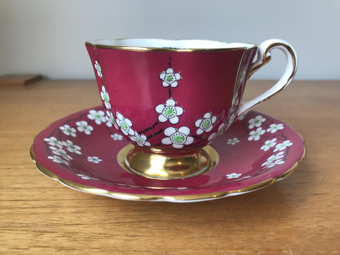 Bone China Tea Cup and Saucer, New Chelsea Staffs Pink Teacup and Saucer, White Flower Blossoms