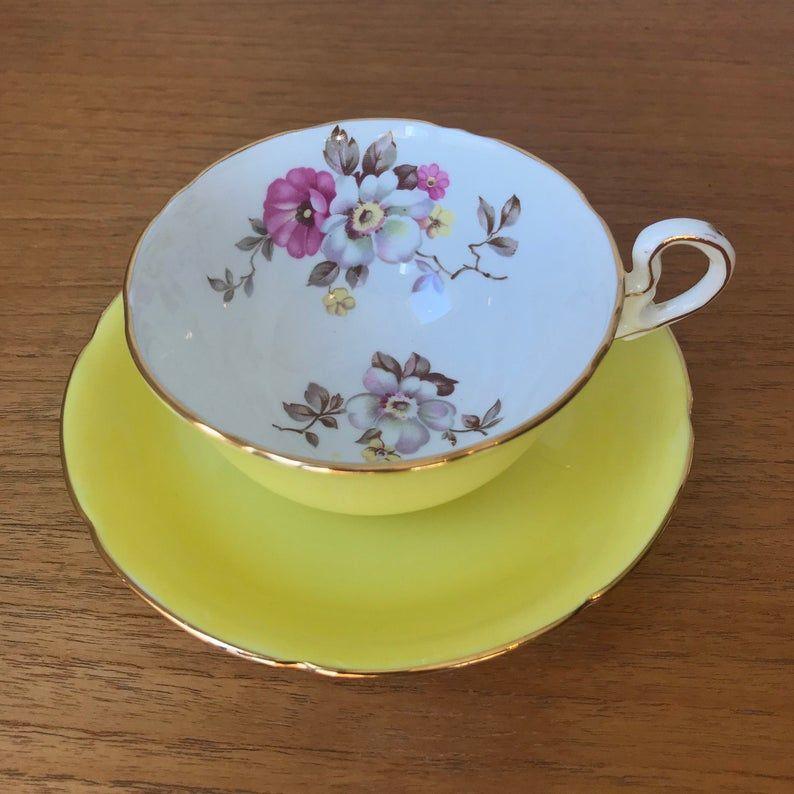 Bright Yellow Royal Grafton Tea Cup and Saucer, Floral Teacup and Saucer