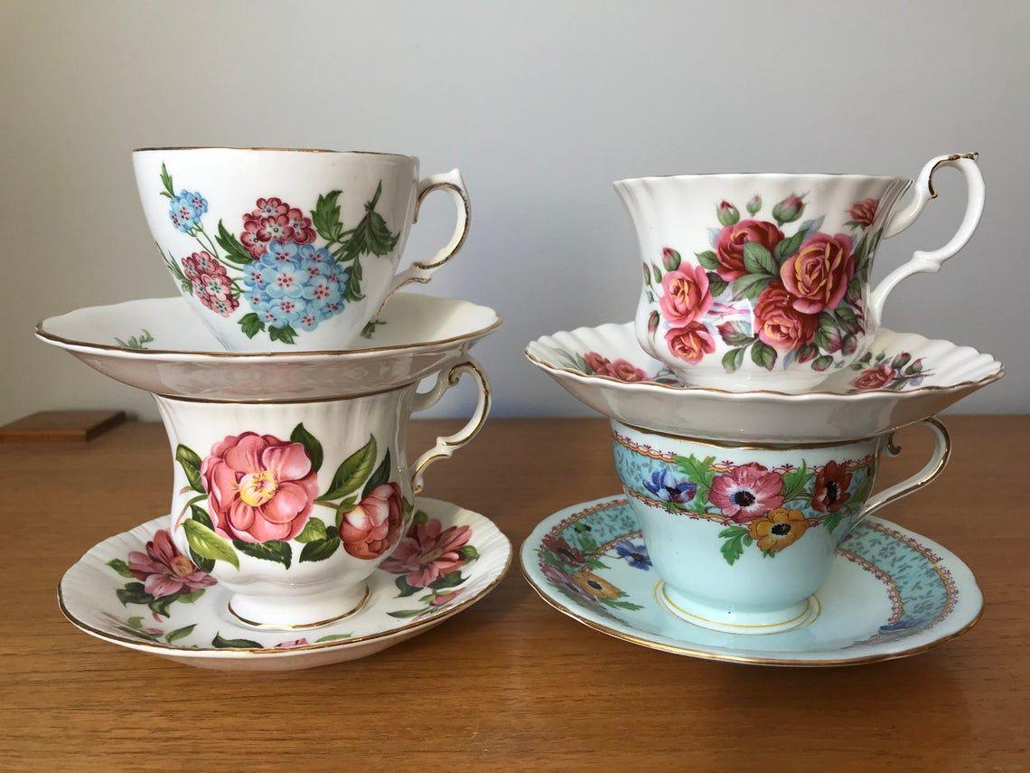 Bulk Tea Cups and Saucers, Blue and Reddish Pink Floral Teacups and Saucers, Mismatched China Tea Set