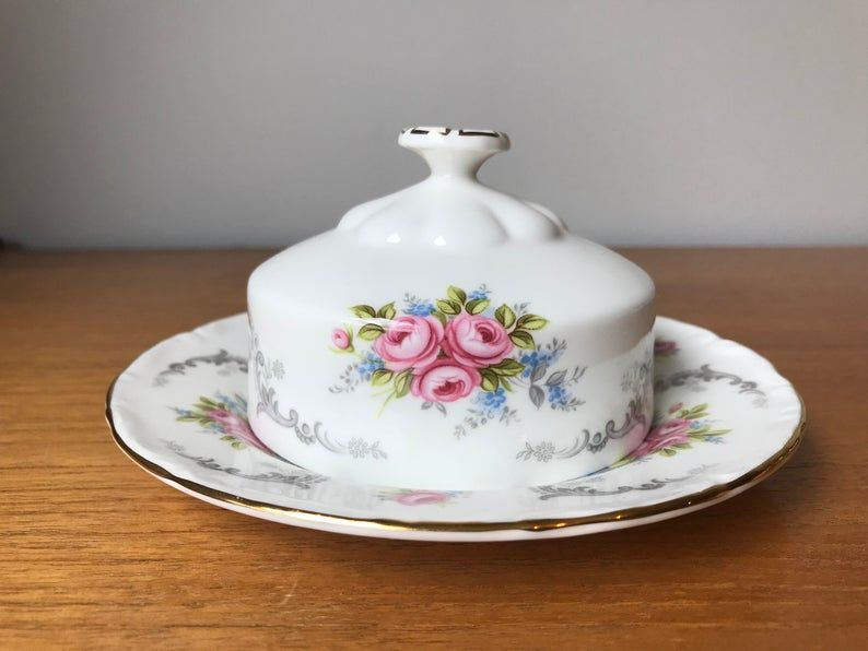 Butter Dish with Lid, Royal Albert Tranquility Bone China Butter Saver, Pink Roses Grey Scrolls