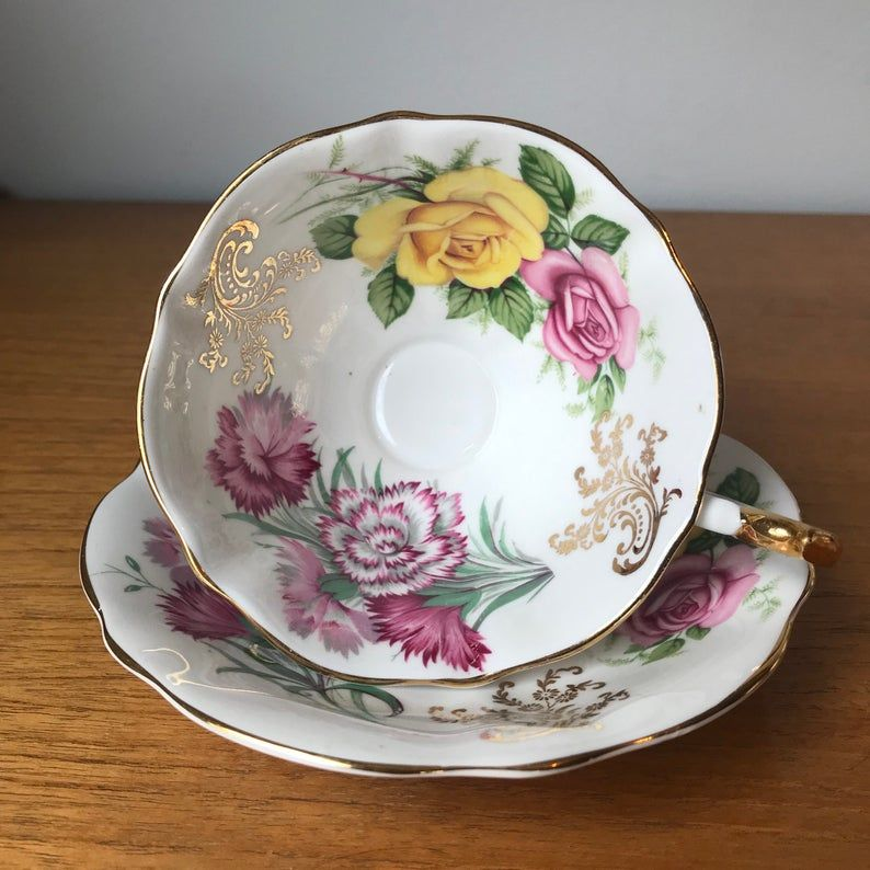 Carnations and Roses Tea Cup and Saucer, Queen Anne Teacup and Saucer