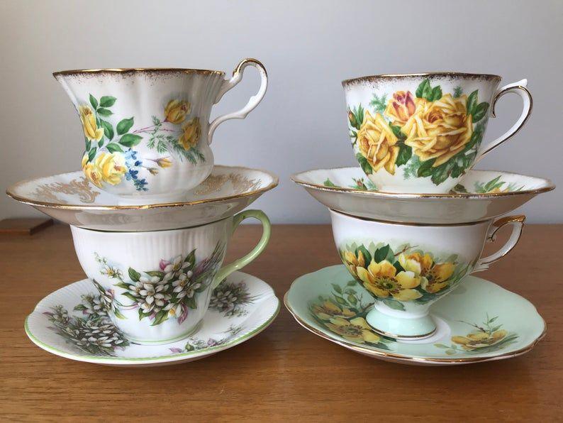 China Tea Set, Yellow and Green Teacups and Saucers, Floral English Tea Cups and Saucers, Royal Albert, Royal Standard, Crown Prince