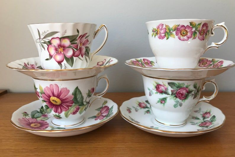 China Tea Set, Pink Floral Teacups and Saucers, Roses and Daisy Tea Cups and Saucers