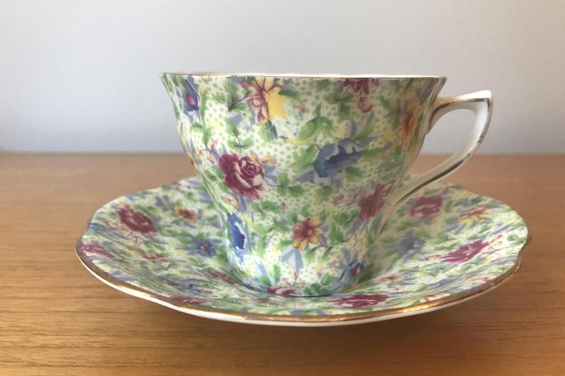Chintz Tea Cup and Saucer, Vintage Rosina Flower Chintz Teacup and Saucer, Bone China, Garden Tea Party, Collectibles, Gift Idea