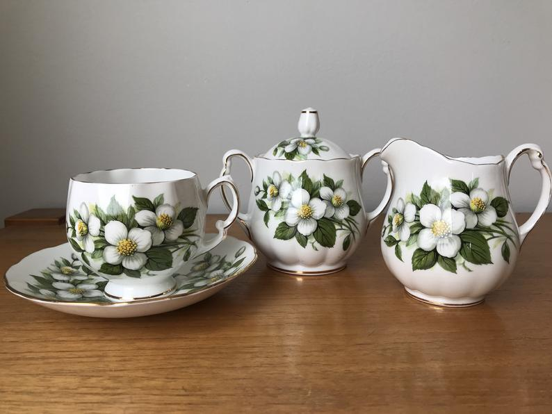 Colclough China Tea Set, White Flower Teacup and Saucer Cream and Sugar set, Vintage Tea Cup with Creamer and Sugar Bowl