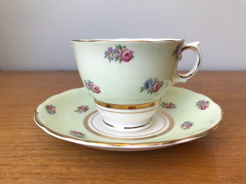 Colclough Green Tea Cup and Saucer, Light Pastel Green Teacup and Saucer, Post World War 2, Bone China