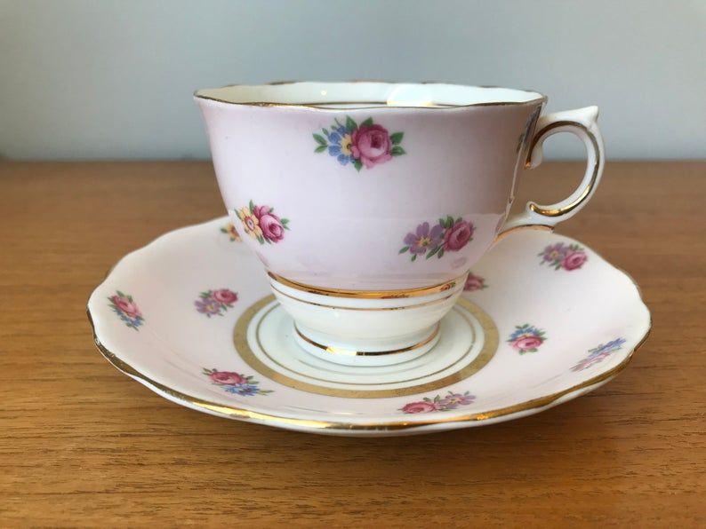Colclough Pink Tea Cup and Saucer, Floral Bone China Teacup and Saucer