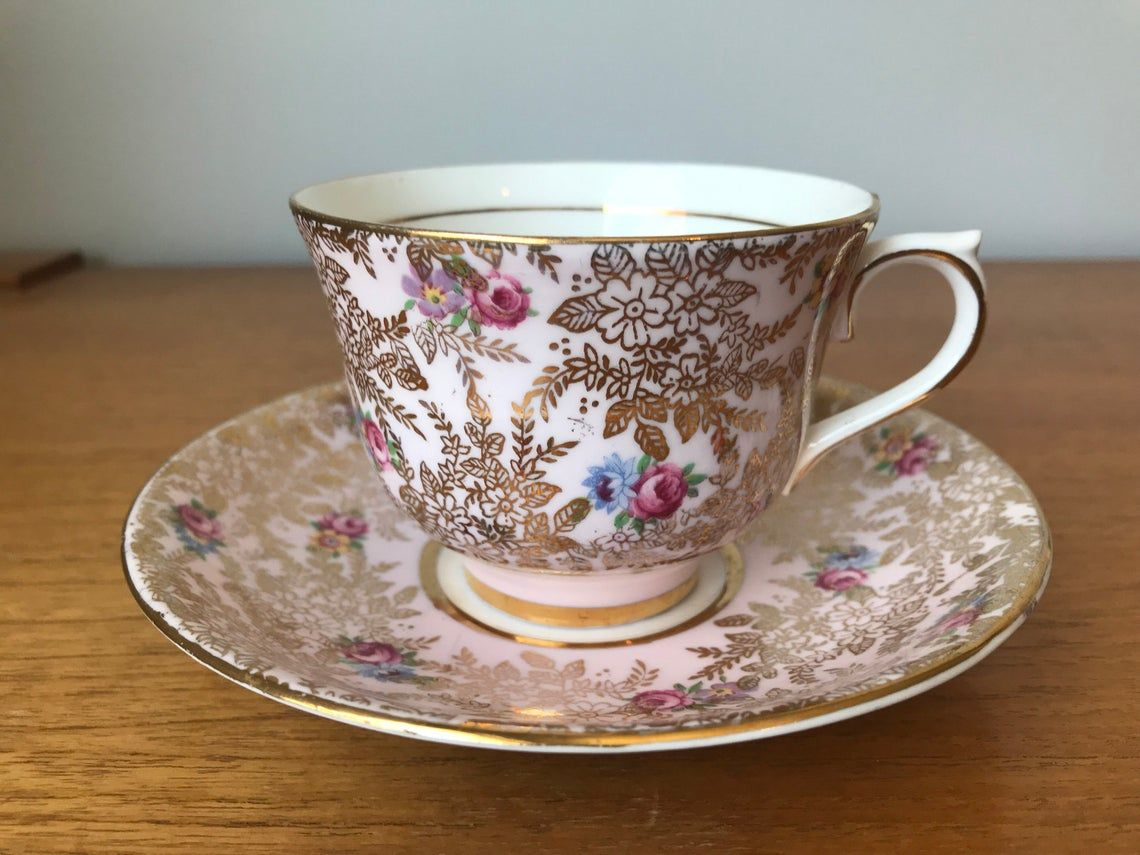Colclough Pink Tea Cup and Saucer, Gold Chintz Floral Teacup and Saucer, Bone China
