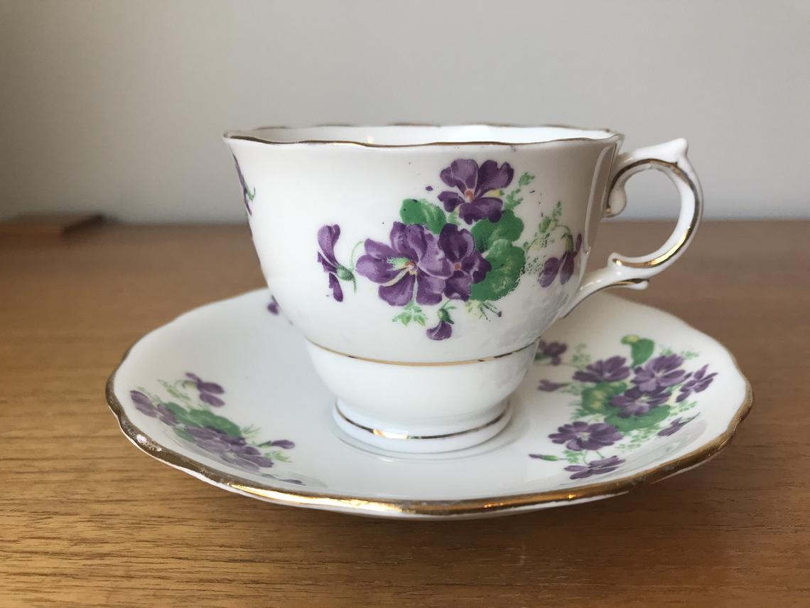 Colclough Purple Violet Teacup and Saucer Post WWII English Tea Cup and Saucer Bone China