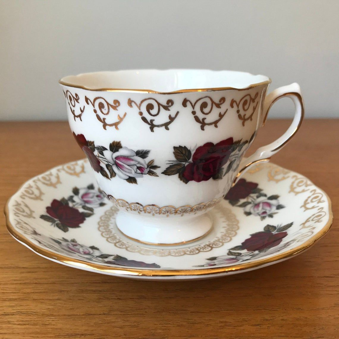 Colclough Red Rose Teacup and Saucer, White Rose, Gold Filigree, Vintage Tea Cup and Saucer, English Bone China