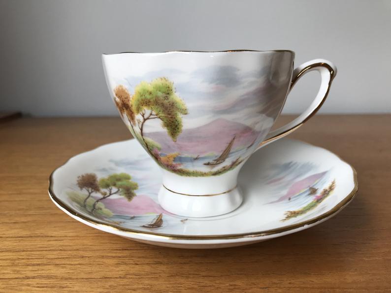Colclough Teacup and Saucer, Scenic Lake Sailboat Tea Cup and Saucer, Vintage China