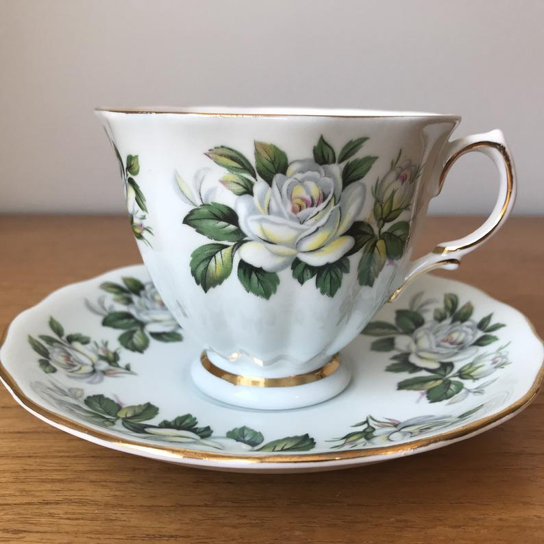 Colclough Vintage Tea Cup and Saucer, White Rose Pale Blue Teacup and Saucer, Bone China