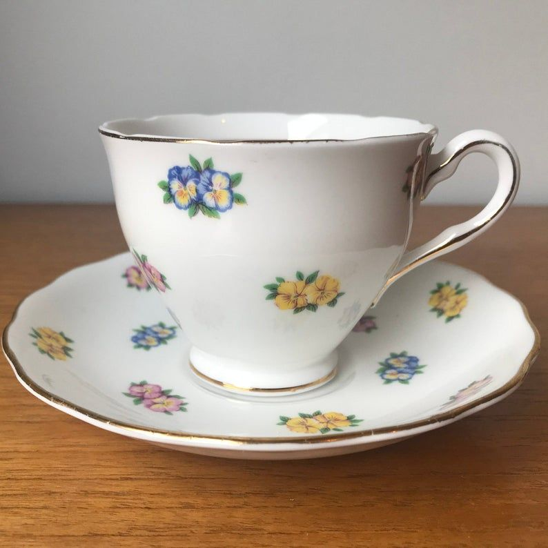 Colclough Vintage Teacup and Saucer Pink Yellow and Blue Pansy Tea Cup and Saucer, Bone China