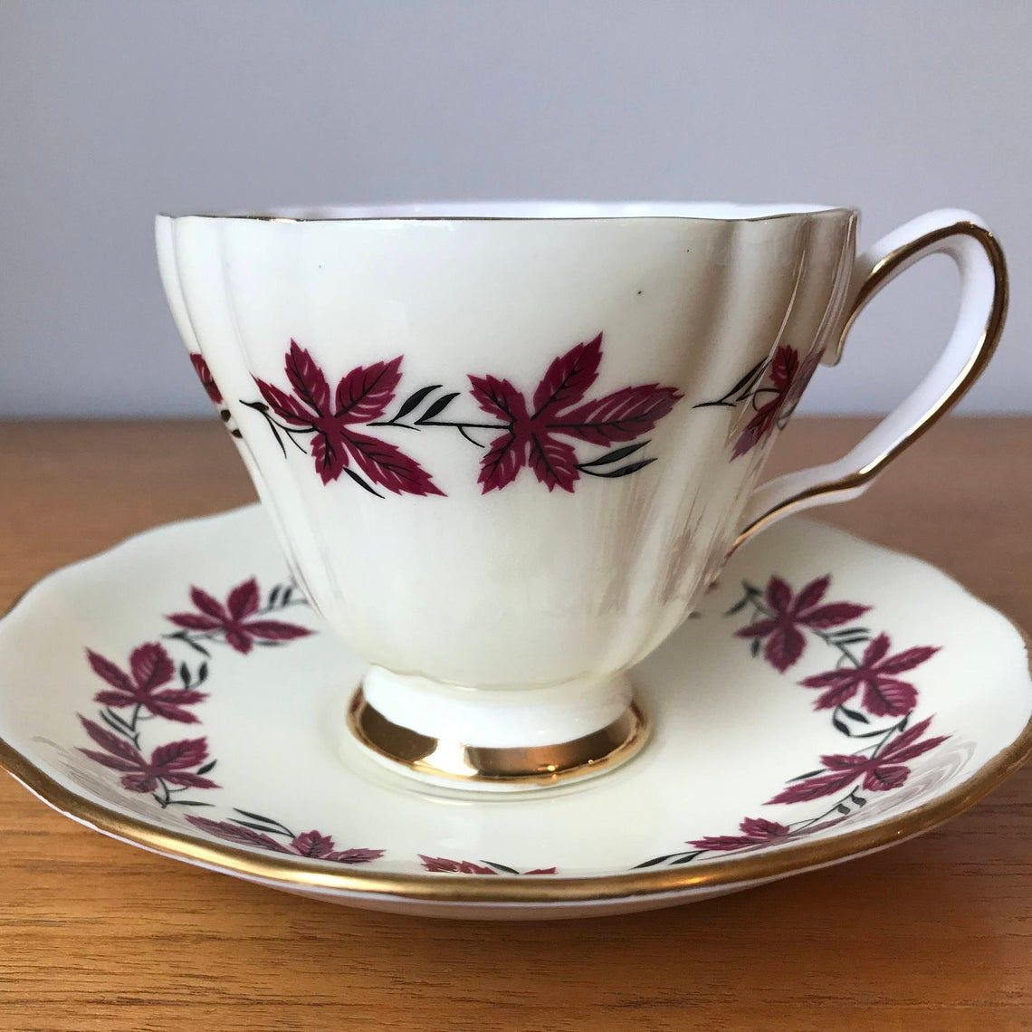 Colclough Vintage Teacup and Saucer Dark Pink Leaf Cream Tea Cup and Saucer, Bone China