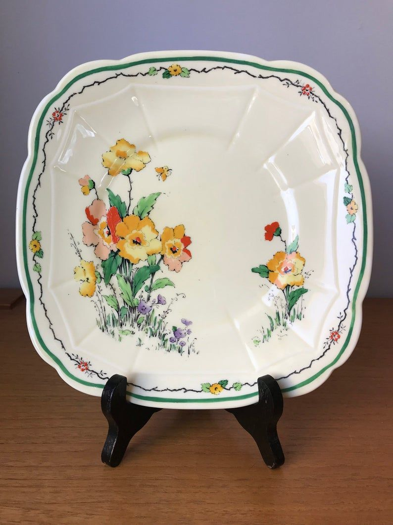 Crown Staffordshire Cake Plate, Vintage Serving Tray with Hand Painted Yellow and Orange Flowers