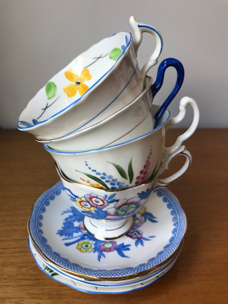 Dark Blue Teacups and Saucers, Mismatched China Tea Cups and Saucers, Floral Tea Set, Tea Party