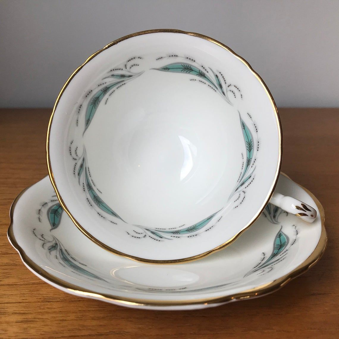 E B Foley Pine Spray Vintage Teacup and Saucer, Turquoise Leaves Tea Cup and Saucer, Bone China
