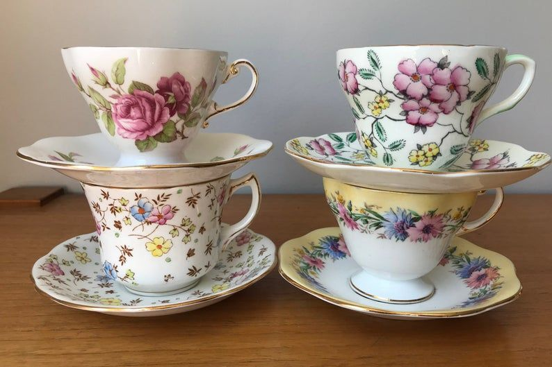 EB Foley China Tea Set, Pink Yellow and Blue Flower Tea Cups and Saucers, Bone China Floral Teacups and Saucers